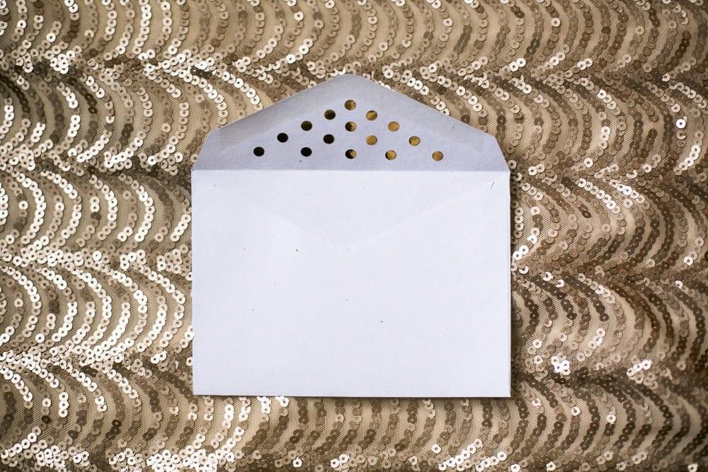 Umschlag Gold Punkte DIY Selbermachen