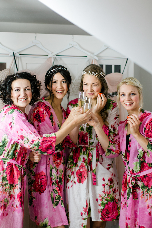 Brautjungfern Morgenmäntel Rosa