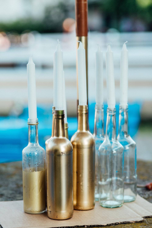 Flaschen gold besprühen