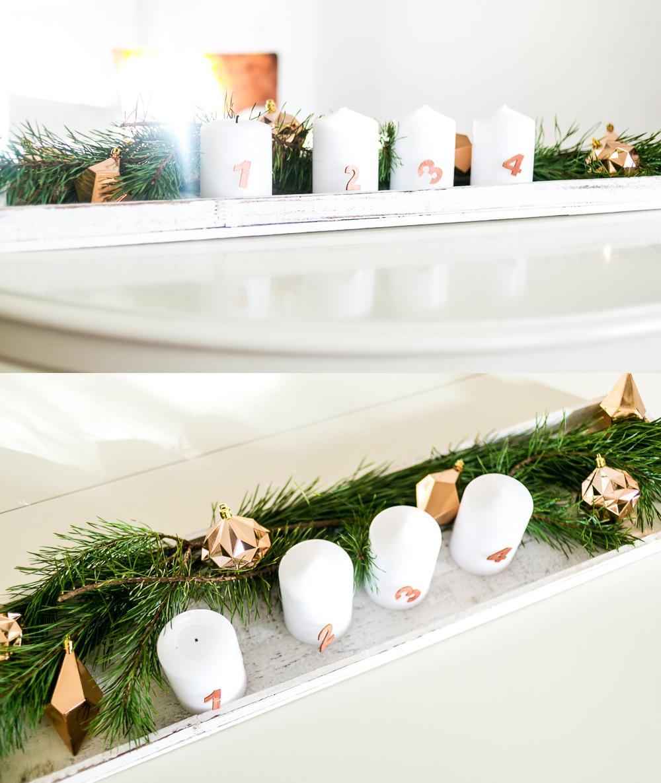 DIY Adventskranz mit Kupfer DIY Weihnachtsdeko mit Kupfer