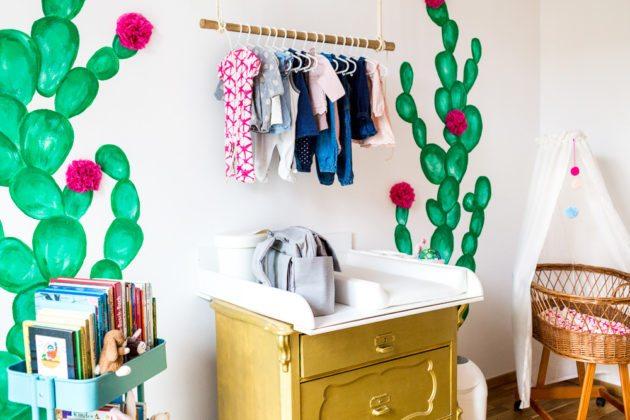 Kaktus Kinderzimmer Boho Ethno Kakteen Stubenwagen Rattan Wickelkommode Gold