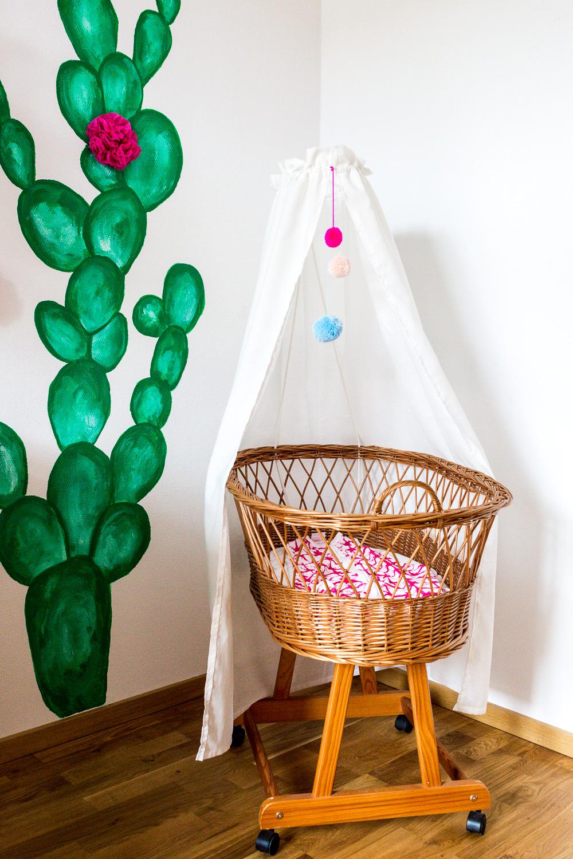 Kaktus Kinderzimmer Boho Ethno Kakteen Stubenwagen Rattan