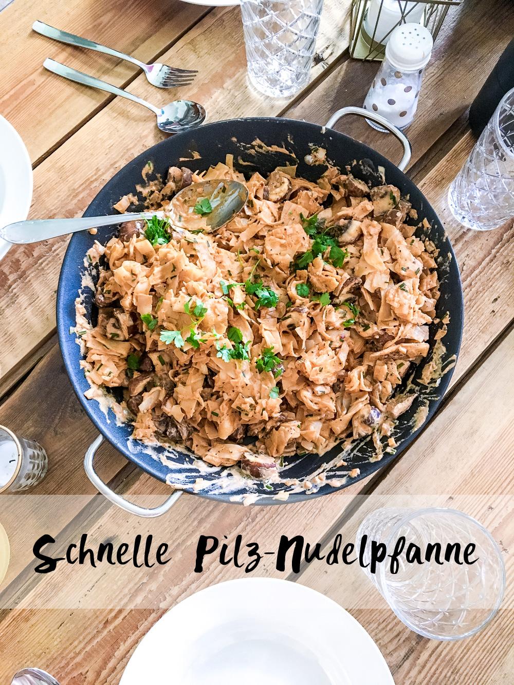 Schnelle Pilz-Nudelpfanne
