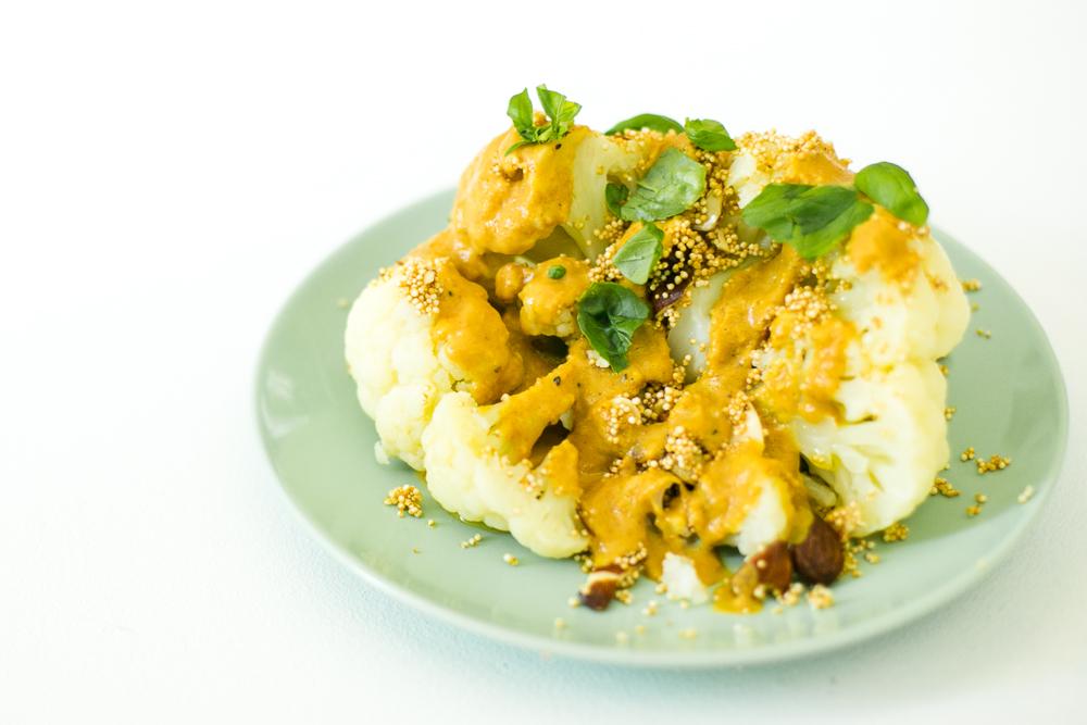 Blumenkohl mit Curry-Erdnussmus-Creme Rezept