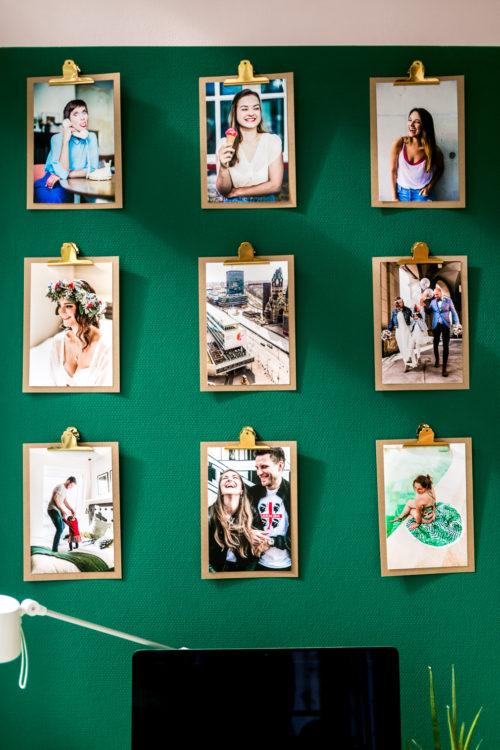 10 Tipps für einen schönen und organisierten Home Office Arbeitsplatz mit Farbe von Schöner Wohnen Farbe Grün und Rosa Bilderwand